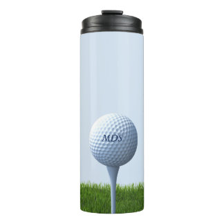 Dad's Golf Ball Tee Off Monogram Thermal Tumbler