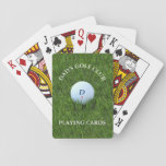 "Dad&#39;s Golf Club Playing Cards<br><div class=""desc"">Suitable for playing poker in Dad&#39;s Golf Club. You can personalize the golf ball with his initial and his golf ball number and the text. Great gift for golf fans and of course,  dads.</div>"