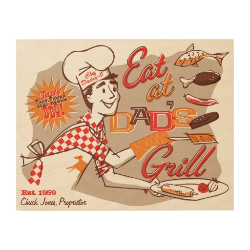 Dad's Grill Retro Wood Sign 14x11 (CUSTOMIZABLE) Wood Print