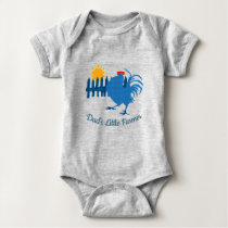 Dad's Little Farmer. Gingham Country Rooster Baby Bodysuit