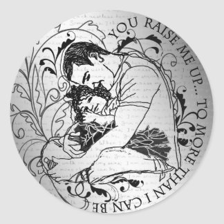 Dad's little girl line drawing text design classic round sticker