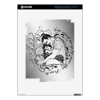 Dad's little girl line drawing text design iPad 3 skin