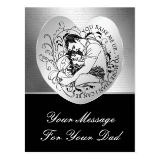 Dad's little girl line drawing text design postcard