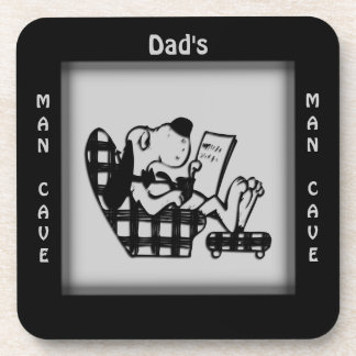 Dad's Man Cave Gray Square Coasters