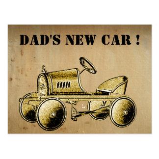 Dad's New Car!... vintage style postcard