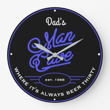 Dad's or Any Name Man Cave Retro Blue with Slogan Large Clock