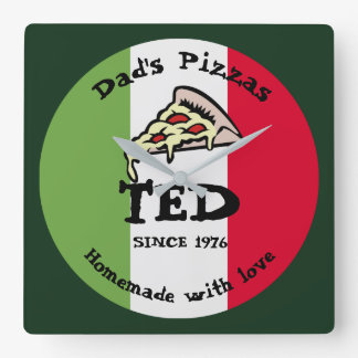Dad's Pizzas Square Wall Clock