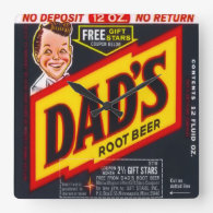Dad's Root Beer Square Wall Clock