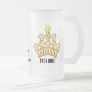 DADS RULE! FROSTED GLASS BEER MUG