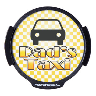 Dad's Taxi Funny Light-Up Sign Yellow Checkerboard LED Car Decal