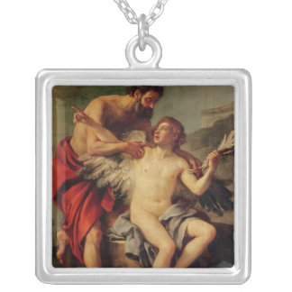 Daedalus Attaching Icarus' Wings, c.1754 Silver Plated Necklace