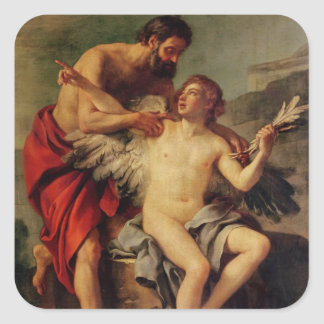 Daedalus Attaching Icarus' Wings, c.1754 Square Stickers
