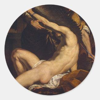 Daedalus y Ícaro de Charles Le Brun Pegatina Redonda