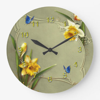 Daffodil and Blue Butterfly Large Clock