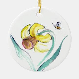 Daffodil and Buzzin Bee, Sumi-e Ceramic Ornament