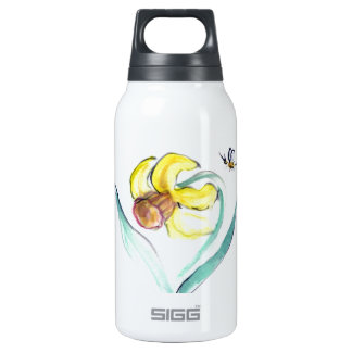 Daffodil and Buzzin Bee, Sumi-e Insulated Water Bottle