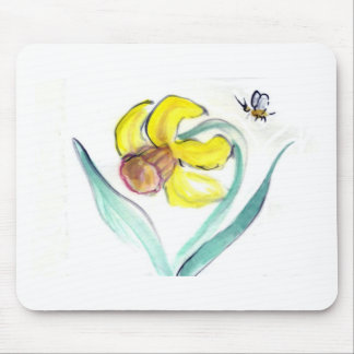 Daffodil and Buzzin Bee, Sumi-e Mouse Pad