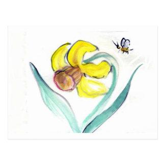 Daffodil and Buzzin Bee, Sumi-e Postcard
