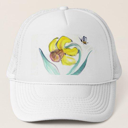 Daffodil and Buzzin Bee, Sumi-e Trucker Hat