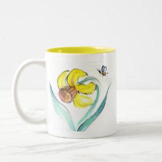 Daffodil and Buzzin Bee, Sumi-e Two-Tone Coffee Mug