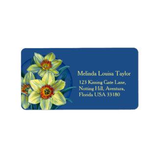 Daffodil art painting return address labels