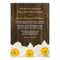 Daffodil Barn Wood Wedding Card