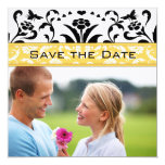 Daffodil Black Bubble Bee Damask Save the Date Custom Announcement