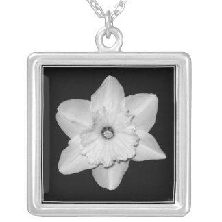 Daffodil Close-up (B&W) Necklace