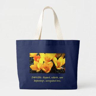 daffodil delight, DAFFODIL: Regard, rebirth, ne... Large Tote Bag