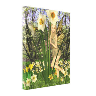 Daffodil Fairy with Spring Background Canvas Print