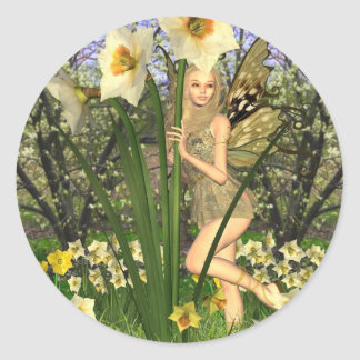 Daffodil Fairy with Spring Background Classic Round Sticker