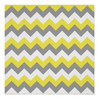 Daffodil Gray and White Zigzag 2 Poster