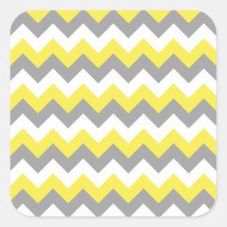 Daffodil Gray and White Zigzag 2 Square Sticker