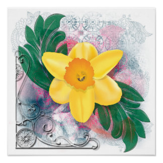 Daffodil Grunge Poster
