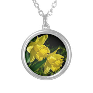 Daffodil March birth month flower Silver Plated Necklace