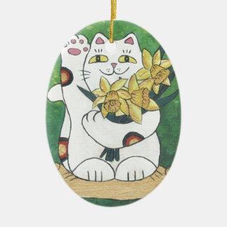 Daffodil Neko Ceramic Ornament