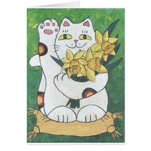 Daffodil Neko Greeting Card
