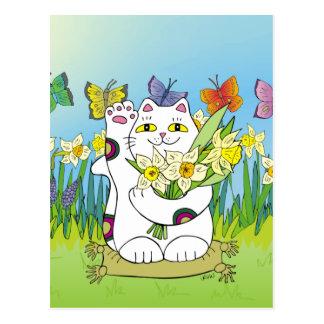 Daffodil Neko Postcard