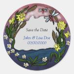 daffodil save the date classic round sticker