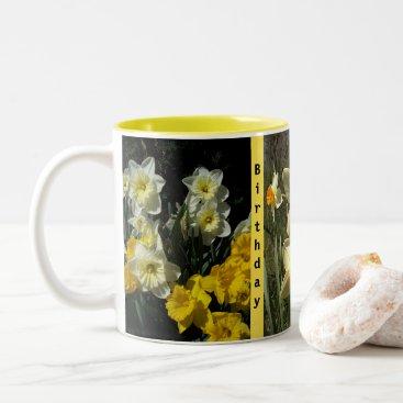 Coffee Themed Daffodil Spring Cup of Happy Birthday Mug Coffee