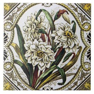 Daffodil Vintage Floral Art Tile