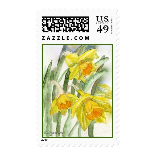 Daffodil Watercolor Art Postage Stamps