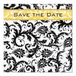 Daffodil Yellow & Black Damask Save the Date Custom Invitation