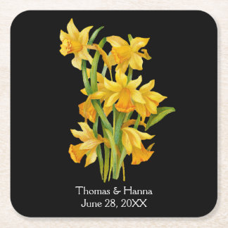 Daffodil Yellow Floral Wedding Square Paper Coaster
