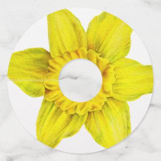 Daffodil yellow flowers wedding wine glass tag