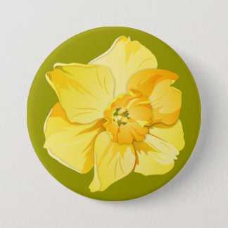 Daffodil Yellow Short-Trumpet Spring Flower Pinback Button