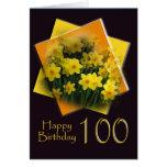 Daffodils - 100th Birthday Congratulations Card