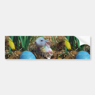 Daffodils and  Blue Easter egg Bumper Sticker