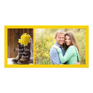 Daffodils and Cowboy Boots Barn Wedding Thank You Card