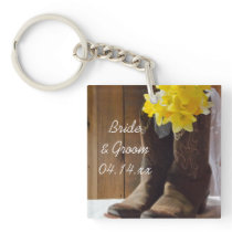 Daffodils and Cowboy Boots Country Barn Wedding Keychain